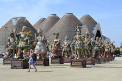 Panoramic view to the sculptures by Dante Ferretti of the Expo Milano 2015. Stock Photos