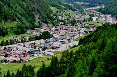 Panoramic View to Soelden, Austria. Panoramic view to Soelden, Oetztal Valley, Austria, Europe Royalty Free Stock Image