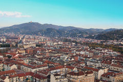 Panoramic view to Superga hill, Torino city Stock Photos
