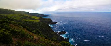 Panoramic view to Terceira island coastline from Mata da Serreta viewpoint, Azores, Portugal royalty free stock photo