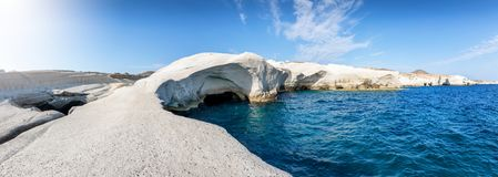 Free Panoramic View To The Lunar Landscape Of Sarakiniko Beach, Milos Island, Cyclades, Greece Stock Photography - 153820722
