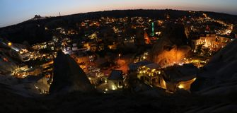 Panoramic view to the town in Cappadocia Royalty Free Stock Photo