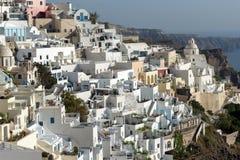 Panoramic view to town of Fira, Santorini island, Thira, Greece Royalty Free Stock Image