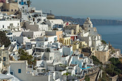 Panoramic view to town of Fira, Santorini island, Thira, Greece Royalty Free Stock Images
