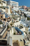 Panoramic view to town of Fira, Santorini island, Thira, Greece Royalty Free Stock Photos