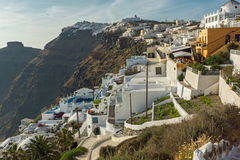 Panoramic view to towns of Imerovigli and Firostefani, Santorini island, Thira, Greece Royalty Free Stock Image