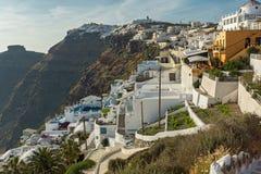 Panoramic view to towns of Imerovigli and Firostefani, Santorini island, Thira, Greece Royalty Free Stock Image