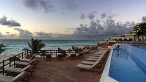 Panoramic view to the tropical resort at sunrise time Royalty Free Stock Photo