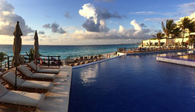 Panoramic view to the tropical resort at sunrise time royalty free stock photography