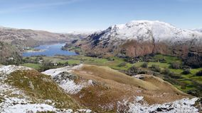Panoramic view to Ullswater in the snow Stock Images