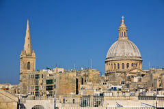 Panoramic view to Valletta and St. Pauls Cathedral Stock Images