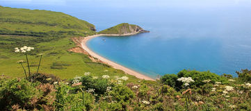 Panoramic view to worbarrow bay and country hills Royalty Free Stock Image