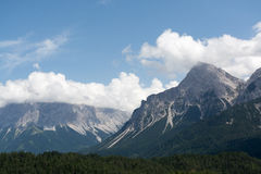 Panoramic view to the Zugspitze Mountain, Austria Stock Images