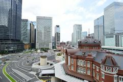 Panoramic view of Tokyo Station and one of the largest transit passengers from Tokyo, Japan, August 2013 Stock Photo