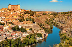 Panoramic view of Toledo, Spain, and the Tagus river Royalty Free Stock Images