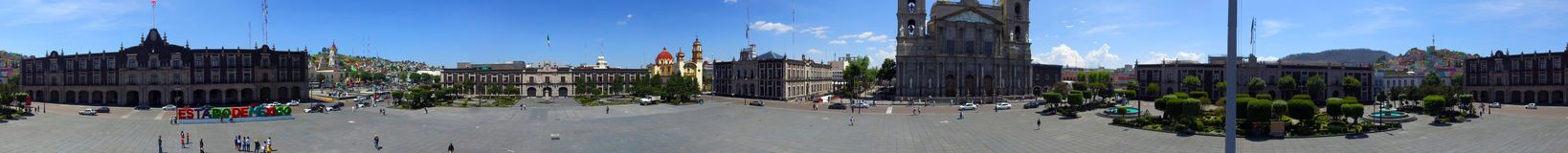 Panoramic view Toluca mexico. Toluca mexico downtown aerial view 360 degrees panoramic view, principal government buildings in the Downtown of Toluca mexico Stock Photos
