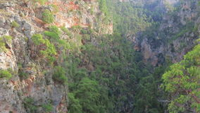 Panoramic view from the top of the canyon and mountain river stock video footage