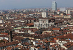 Panoramic view from the top by the city of Turin with the histor Royalty Free Stock Photo