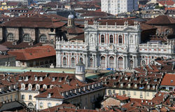 Panoramic view from the top by the city of Turin in Italy Royalty Free Stock Images