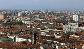 Panoramic view from the top by the city of Turin in Italy Stock Image