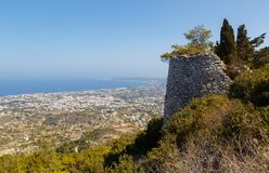 Panoramic view from top of cliff on sea, villages with houses in farmland, Rhodes Island in Greece. Panoramic view from top of cliff on open sea, villages with royalty free stock photography