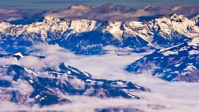 Panoramic view from the top of Kaprun glacier at Austrian alps Stock Images
