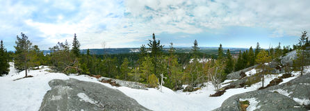 Panoramic view from the top of the Koli National Park. Finland, Europe Royalty Free Stock Image