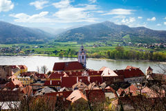 Panoramic view from the top of the medieval village of Durnstein Stock Photo