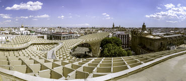 Panoramic view in the top of Metropol Parasol in Plaza de la Enc. SEVILLE, SPAIN - MAY 2014: Panoramic view in the top of Metropol Parasol in Plaza de la Royalty Free Stock Photography