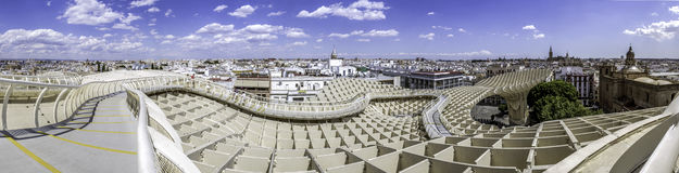 Panoramic view in the top of Metropol Parasol in Plaza de la Enc Royalty Free Stock Photos