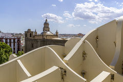 Panoramic view in the top of Metropol Parasol in Plaza de la Enc Royalty Free Stock Photo