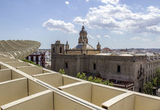 Panoramic view in the top of Metropol Parasol in Plaza de la Enc Stock Photography