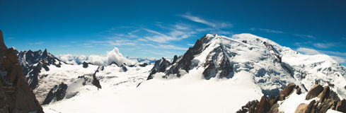 Panoramic view from the top of Mont-Blanc Royalty Free Stock Photography