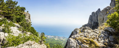 Panoramic view from the top of Mount Ai-Petri Crimea Stock Image
