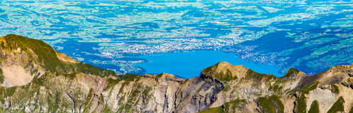 Panoramic View, top of Mount Schilthorn Royalty Free Stock Photography