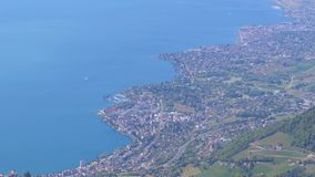Panoramic view from the Top of the Mountain Rochers de Naye on Lake Geneva, Montreux, Switzerland stock video