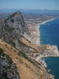 View from the top of the Rock of Gibraltar. Panoramic view from the top of the Rock of Gibraltar Royalty Free Stock Photography
