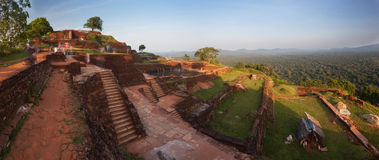 Panoramic view from the top of Sigiriya rock at sunset, Srilanka Royalty Free Stock Photos
