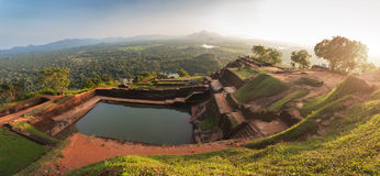 Panoramic view from the top of Sigiriya rock at sunset, Srilanka Stock Photos