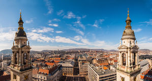 Panoramic view from the top of the St. Stephen's Basilica in Budapest, Hungary.  Stock Photos