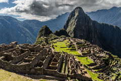 Panoramic view from the top to old Inca ruins and Wayna Picchu, Stock Photography