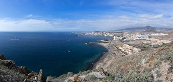 Los Cristianos in Tenerife. Panoramic view from the top to the town Los Cristianos on the island of Tenerife, Canary Islands, Spain Stock Image
