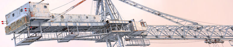 Panoramic view of the top of the tower cranes for construction Royalty Free Stock Photography
