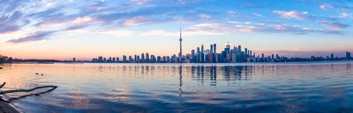 Panoramic view of Toronto skyline and Ontario lake - Toronto, Ontario, Canada. Panoramic view of Toronto skyline and Ontario lake in Toronto, Ontario, Canada royalty free stock images