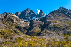 Panoramic view of Torres del Paine National Park mountains peaks. Patagonia, Chile royalty free stock photos
