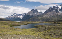 Panoramic view of Torres Del Paine National Park, Patagonia Royalty Free Stock Images