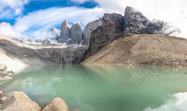 Cloudy sky and blue skies Torres del Paine. Torres del Paine Trek in Patagonia, Chile, South America, camping, landscape, march, 2019, nature, outdoors, park stock images