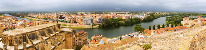 Panoramic view of Tortosa  from Suda castle Royalty Free Stock Images