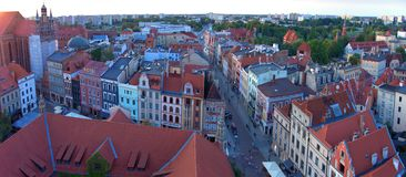 Panoramic view of Toruń from the town hall tower. stock photography