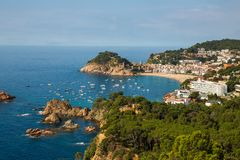 Panoramic view of Tossa de Mar Costa Brava Spain. Bay with boats royalty free stock images